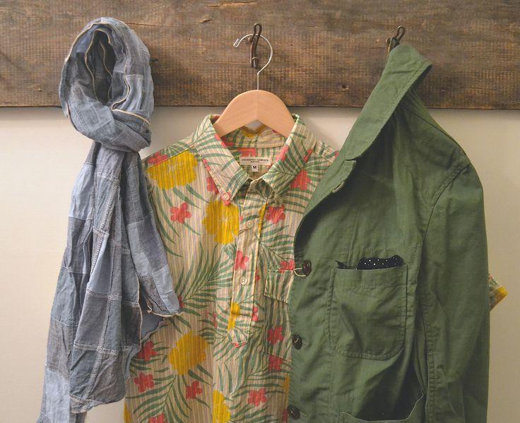 Tous les 10% en instant à l'Indépendance de CE! Vêtements d'ingénierie - Patchwork Chambray Scarf Engineered Garments - Floral Popover Stripe E. ..