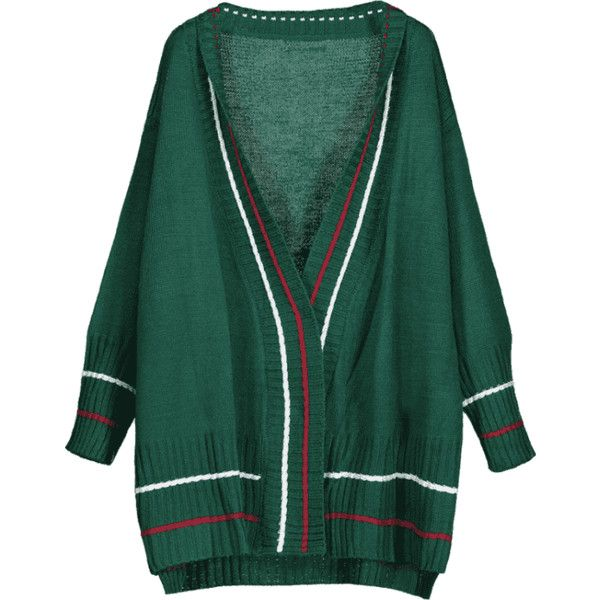 Longline Open Front Striped Cardigan Green (1.755 RUB) ❤ liked on Polyvore featuring tops, cardigans, longline cardigan, striped cardigan, cardigan top, striped top and open front tops