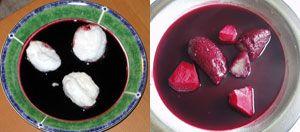 hyldebærsuppe - 1 kg hyldebær, 1 l vand, 2 skrællede æbler, evt. 1 kanelstang eller 2 tsk tørret kanel, evt. 1-2 nelliker, ca 100g sukker, 2 spsk maizena rørt ud i en smule koldt vand - kog bær i 20 min ved svag varme, si, kog op, smag til med sukker, læg æblebåde i 5 min, jævn suppen med maizena