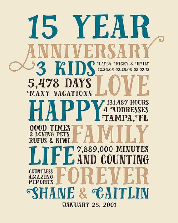 Anniversary Gifts 15 Year Anniversary Present For Him Husband Her Wif In 2020 15 Year Anniversary 15 Year Wedding Anniversary 50th Wedding Anniversary Invitations