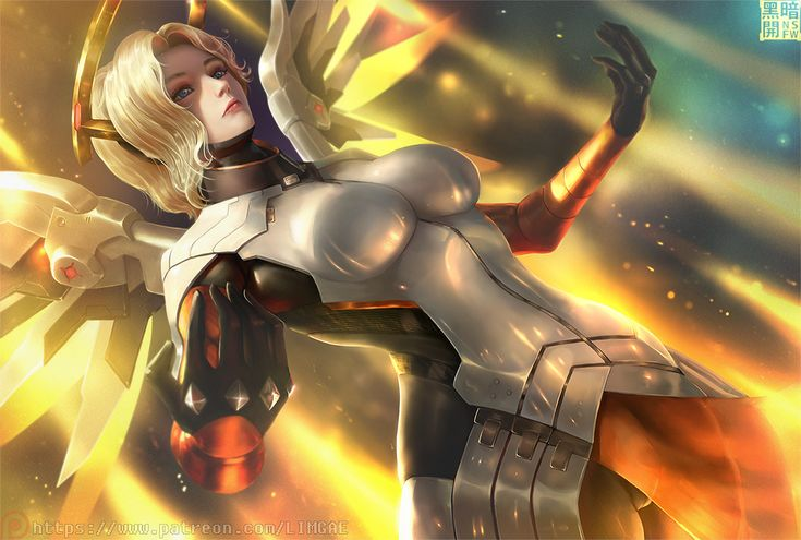 Konachan.com - 250343 armor blonde_hair blue_eyes bodysuit breasts limgae mercy_(overwatch) overwatch short_hair watermark wings.jpg (1072×722)