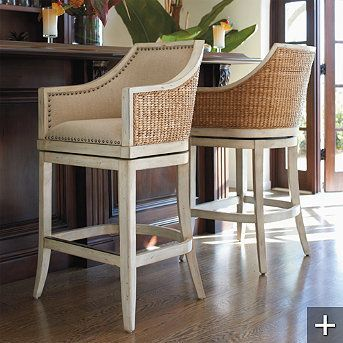 I love these bar stools!  Not sure if they would go in my kitchen but the woven seagrass on the backs  match my Pottery Barn storage baskets perfectly! :)
