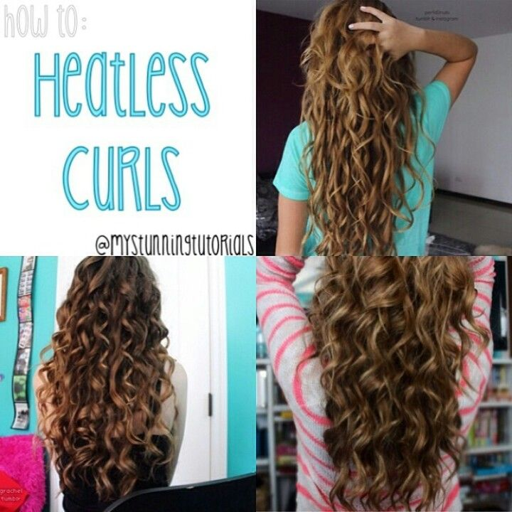 """headband curls: place a thick, stretchy headband around your head, making sure all your hair is under it. take medium-sized piece and wrap it over and through the headband. with the remaining hair, add it to another piece and repeat. sleep overnight - – """"loop"""" curls: take a section of hair and damp it. curl it up using your fingers and keep curling all the way to the top of your head. secure with clips or bobby pins. repeat and sleep overnight"""