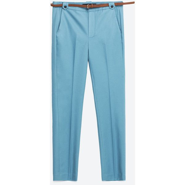 Zara Trousers With Belt (2.675 RUB) ❤ liked on Polyvore featuring pants, zara pants, zara trousers and blue pants