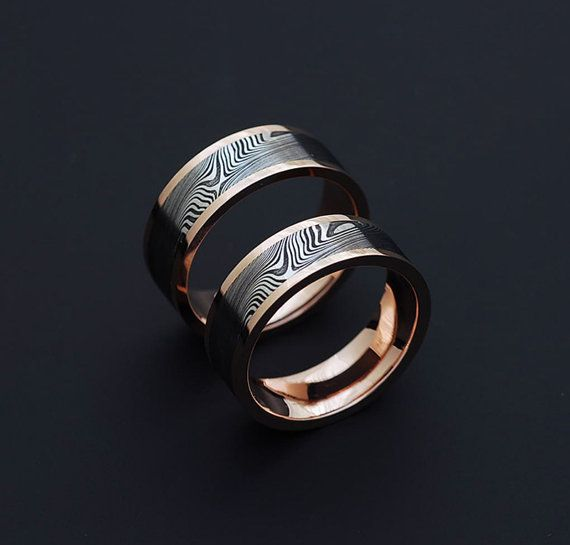 Genuine stainless Damascus Steel and Rose Gold Wedding Band Set PD61 on Etsy, $1,850.00