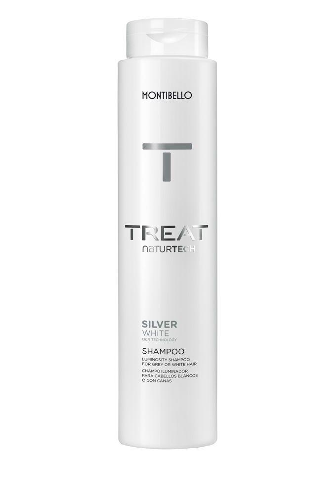 Champú iluminador para cabellos blancos o con canas Silver White Treat Naturtech, de Montibello