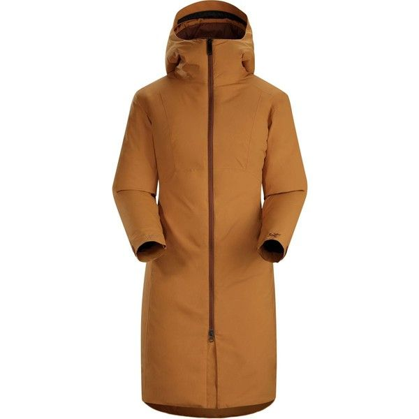 Arc'teryx Sylva Parka (530 CAD) ❤ liked on Polyvore featuring outerwear, coats, brown coat, quilted coat, hooded parka coat, quilted parka and arc'teryx