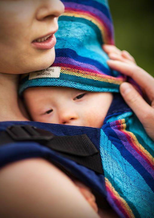 Wompat SSC, Vanamo Sateenkaari & blue corduroy. Cute pointy sleep hood gives extra cover for baby.