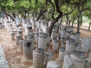 Collection of ancient plinths in Kerameikos, Athens, Greece.