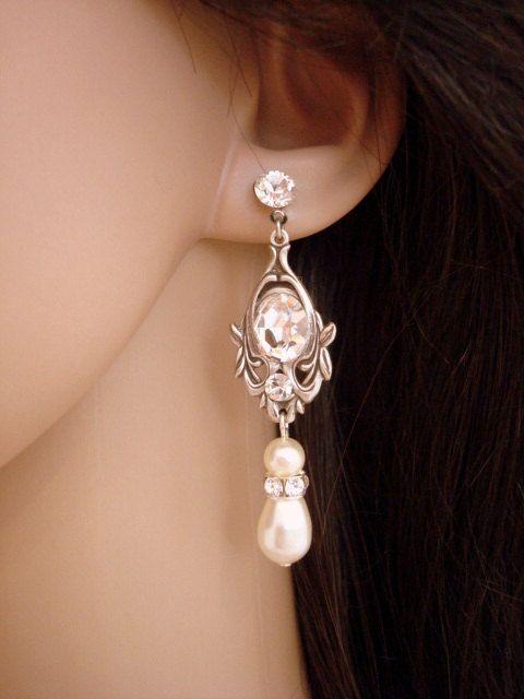 Pendientes novia cristal pendientes de novia perla joyería