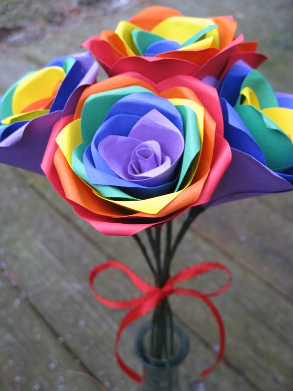 Rainbow Roses, Half A Dozen. Red, Orange, Yellow, Green, Blue, Purple.  OTHER colors available as well. Wedding, Paper Flower Bouquet. $32.00, via Etsy.