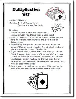 Multiplication War Game freebie. We already play this a lot but I like having the printed directions for a center.