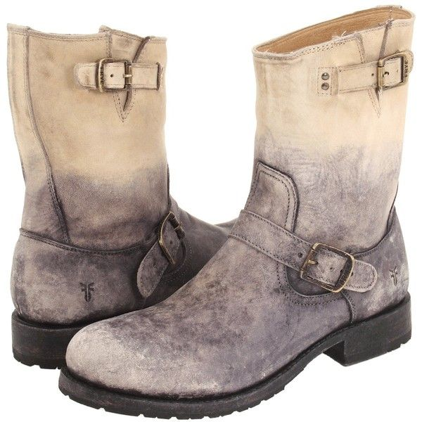 Frye Rogan Engineer (Stone Stone Wash Leather) Men's Pull-on Boots ($130) ❤ liked on Polyvore featuring men's fashion, men's shoes, men's boots, grey, mens slip on shoes, mens biker boots, mens leather motorcycle boots, mens buckle boots and men's pull on boots