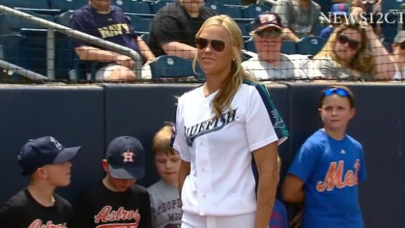 Olympic gold medalist and renowned softball pitcher Jennie Finch guest-managed the Bridgeport Bluefish to a win on Sunday as the first woman to manage a men's professional baseball team.