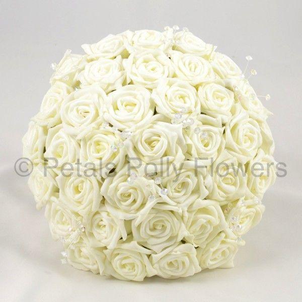 Stunning artificial hand made ivory/cream bride's rose bouquet