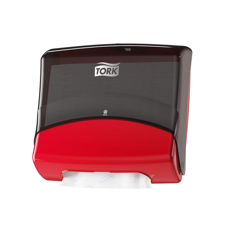 Tork Folded Wiper/Cloth Dispenser: This hygienic dispenser protects the wipes, reduces consumption by dispensing one sheet at a time and fits almost any wall. (System: W4 - Top pak system; Material: Plastic; Height: 394 mm, Width: 427 mm, Depth: 206 mm; Color: Red/Smoke) Get more information about this product at: http://bimobject.com/en/sca-eu/product/654008/sca-tork-eu