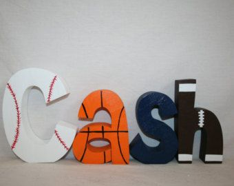 boy nursery letters 4 wood letters sports themed decor sports nursery decor baseball basketball football baby