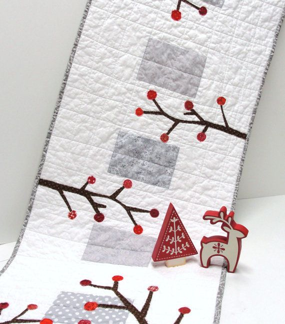 holiday table runner quilted runner in white by moonspiritstudios