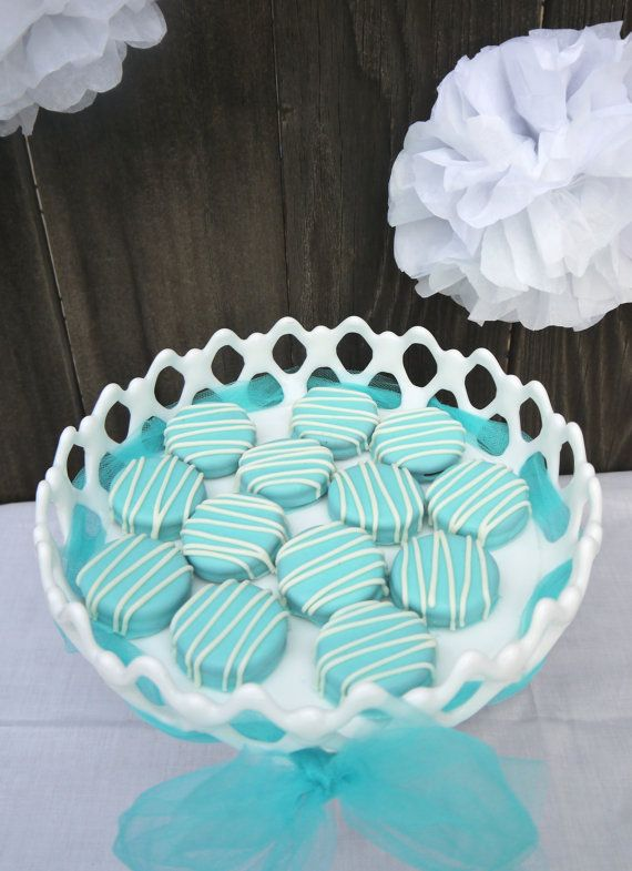 Tiffany Blue Chocolate Covered Oreos for favors.