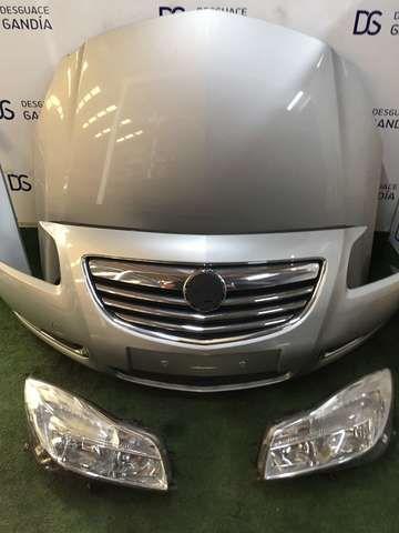 . Frontal Completo, Opel Insignia, 2011, 2.0 CDTI, referencia motor: A20DTH. Faro izq, Faro dch, Aleta izq, aleta derecha, paragolpes delantero, ventiladores electricos, pasaruedas, radiador agua, radiador A/A, interculer
