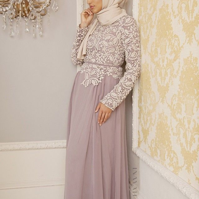 INAYAH | Dusty Mauve Crotchet #Dress Cream Concealed #Hijab www.inayahcollection.com