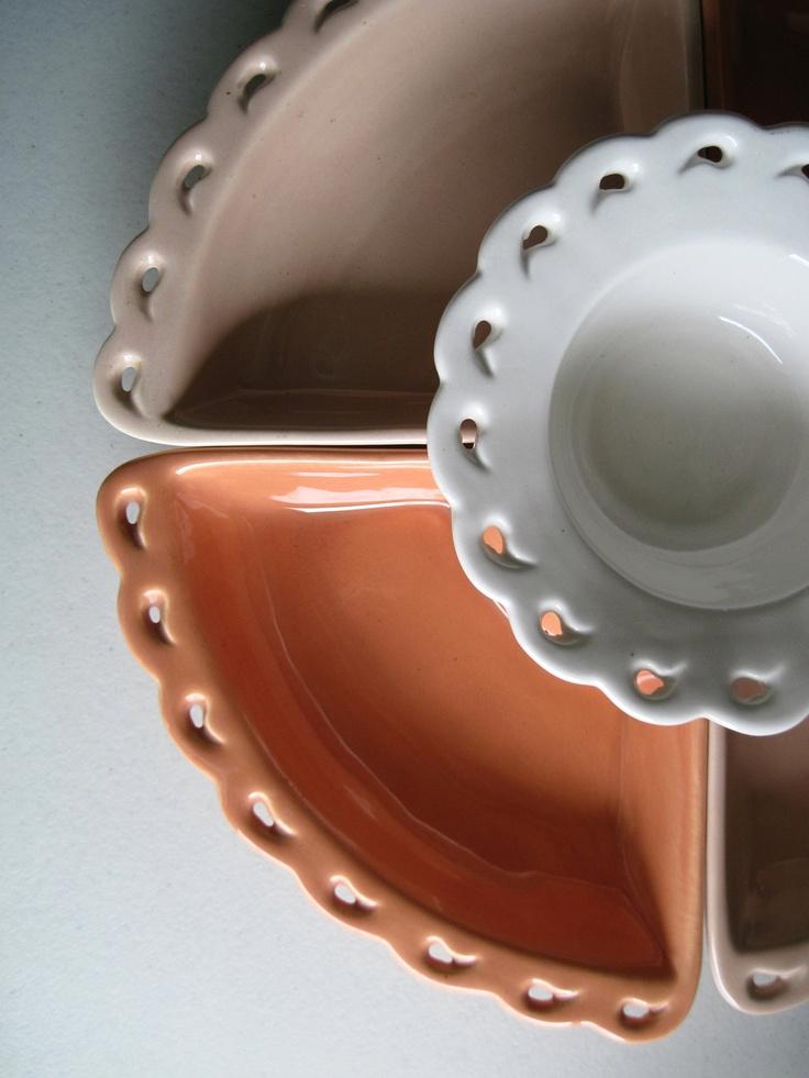 mid century california pottery snack set