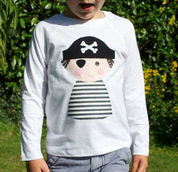 Pirate t shirt applique white long sleeve by cheekycharlieTs, £16.00