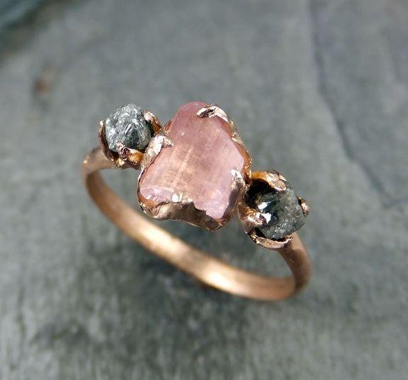 Raw Pink Tourmaline Diamond 14k Rose Gold Engagement Ring Wedding Ring One Of a Kind Gemstone Ring Bespoke Three stone Ring byAngeline by byAngeline (995.00 USD) PURCHASE HERE» http://ift.tt/Ve65u5
