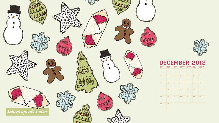 December 2012 calendar, desktop  iPhone wallpapers - rottencupcakes