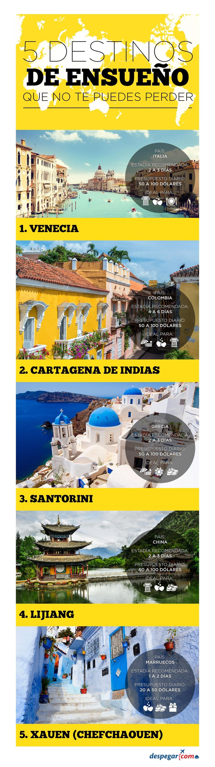 #Viajar > #Infografía 5 destinos de ensueño que no puedes dejar de visitar.