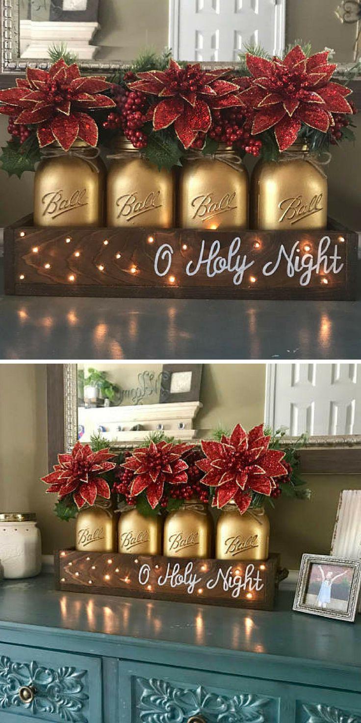 Christmas table decor - christmas centerpiece #masonjardecor #ad #farmhousedecor