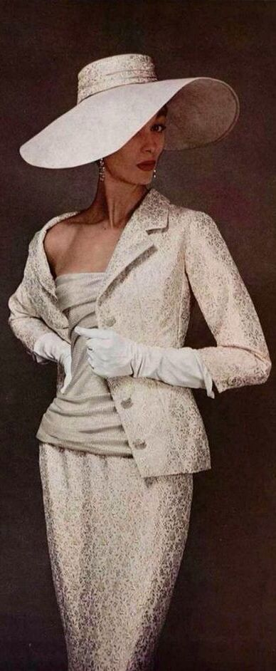 50s 60s fashion style white cream brocade jacquard damask silk satin suit jacket skirt color photo print ad model