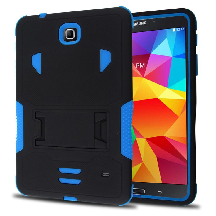 SAMSUNG GALAXY TAB 4 8.0″ CASE, HEAVY DUTY RUGGED HYBRID TRI LAYER ARMOR COVER WITH KICKSTAND (NAVY)   #tabletgadgets #tabletaccessories   www.kuteckusa.com.