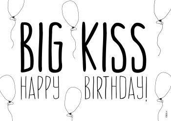 FDBCK cards - tekst big kiss happy birthday kaart (Voorzijde)
