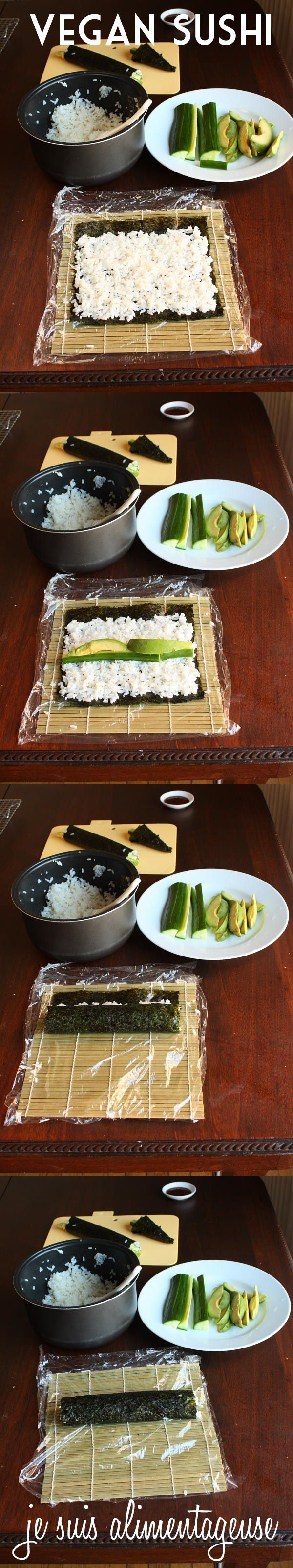 Avocado Cucumber Sushi - How to make sushi step-by-step at home!