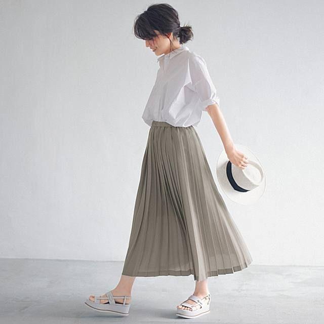 12closet(トゥエルブクローゼット) ウエストゴムプリーツスカート   30代ママのためのライフスタイル通販 LEEマルシェ