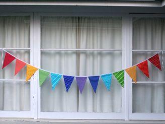 Rainbow Bunting Pennant Flags EXTRA LONG