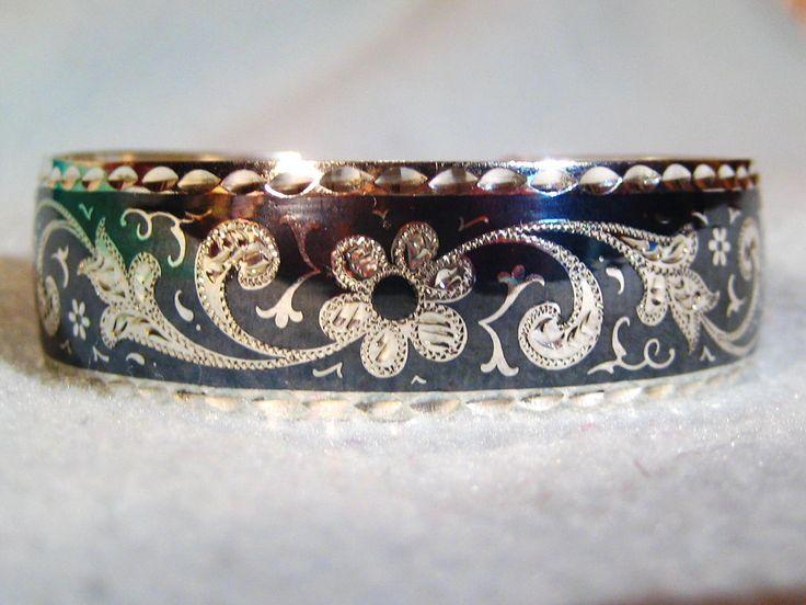 Elegant Kubachi Handmade Sterling Silver Niello Cuff Bracelet.