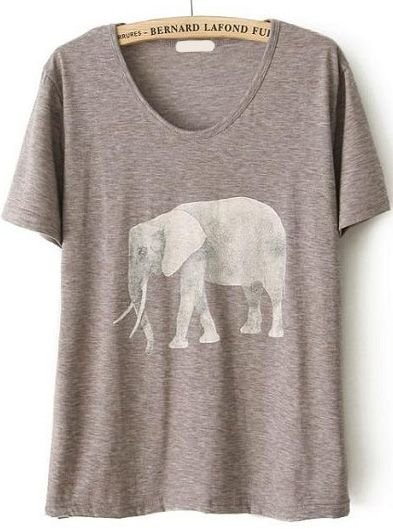 Shop Elephant Print Loose Grey T-Shirt online. SheIn offers Elephant Print Loose Grey T-Shirt & more to fit your fashionable needs.
