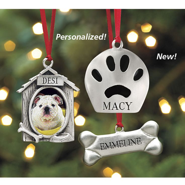 Personalized Dog Frame Ornament @ In The Company Of Dogs $17 frame.  also bone & paw w/ personalization.