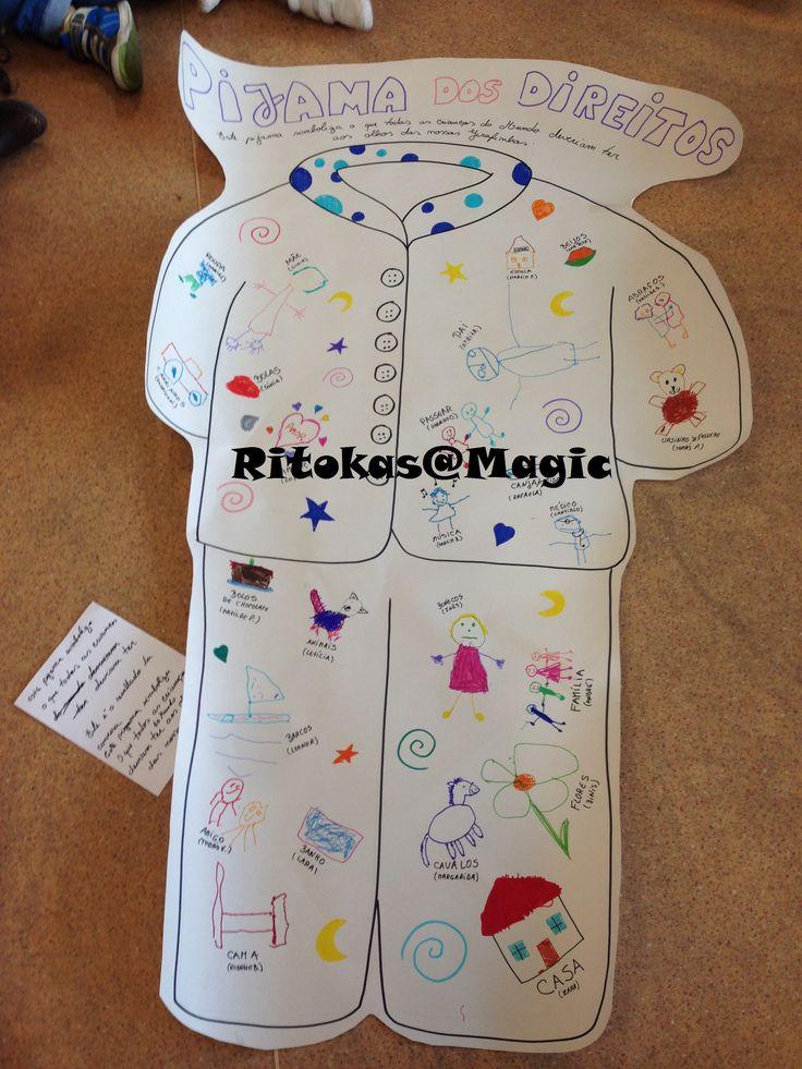 Dia do Pijama - Pijama dos Direitos. As crianças antes responderam à frase: Todas as crianças do Mundo deveriam ter:____ e depois fizeram o desenho conforme a resposta