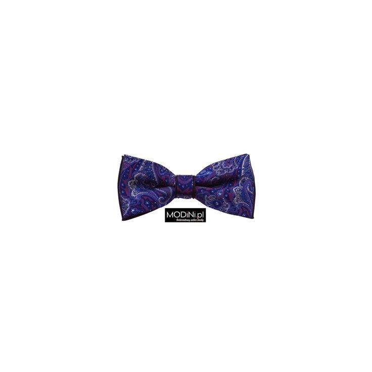 Granatowa muszka z fioletowym wzorem paisley. Poznaj niepowtarzalną kolekcję muszek ze sklepu Modini.pl Najwyższa jakość, super cena, bogactwo wzorów i kolorów.