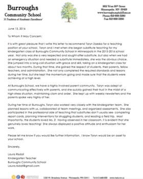 editable teacher letter of recommendation from a colleague