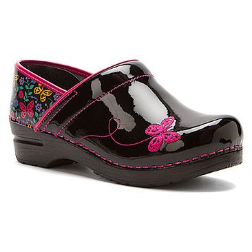 Sanita Flexible Closed-Back Izzy - Limited Edition found at #OnlineShoes Black shoes with pink butterflies!