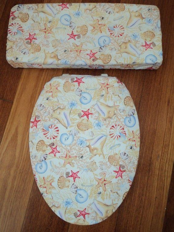 Seashell Toilet Seat Cover Set by LoveVanillaRose on Etsy, $24.95