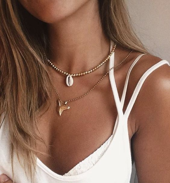 shark tooth necklace. layering necklace.