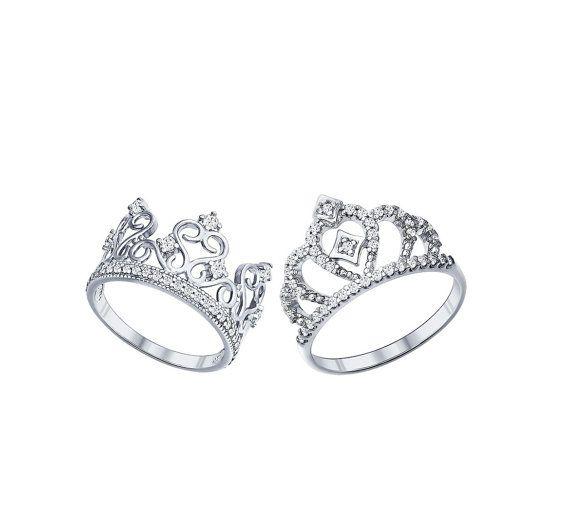 Crown ring set princess ring set king and queen ring set king ring silver crown…