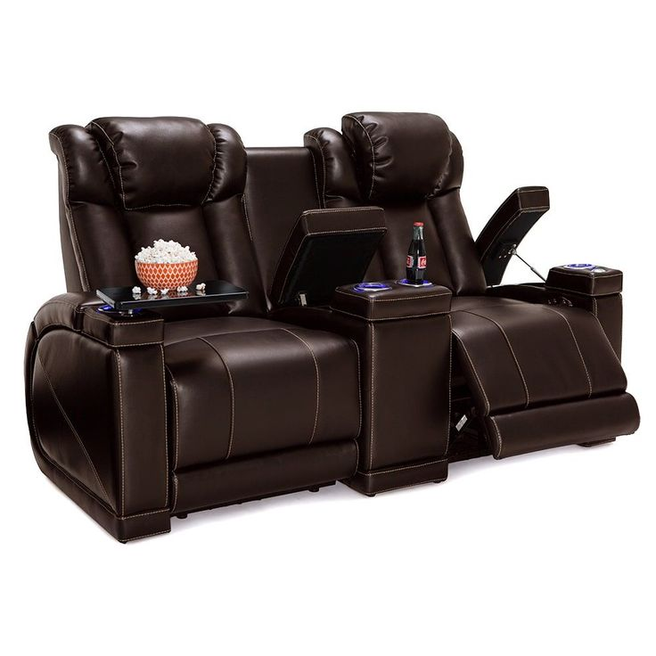 Lane Sigma Leather Gel Home Theater Seating Power Recline - Loveseat w/ Storage Console,