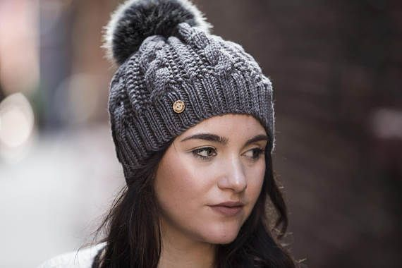 Charcoal Grey Hand Knit Cable Hat with Faux Fur Pom Pom