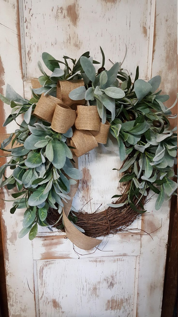 Lambs Ear Greenery Wreath - Wreath Great for All Year Round - Everyday Burlap Wreath, Door Wreath, Wedding Wreath by FarmHouseFloraLs on Etsy